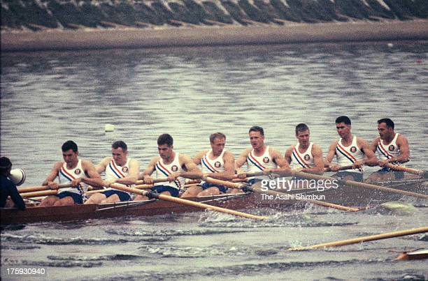 Team United States competes in the Men's Eight With Coxswain at Toda Boat Course during the Tokyo Olympic on October 13 1964 in Toda Saitama Japan