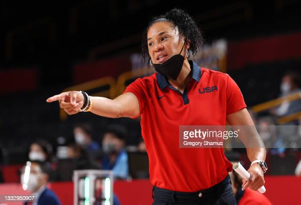 Team United States Head Coach Dawn Staley signals to her team during the first half of the Women's Basketball final game between Team United States...