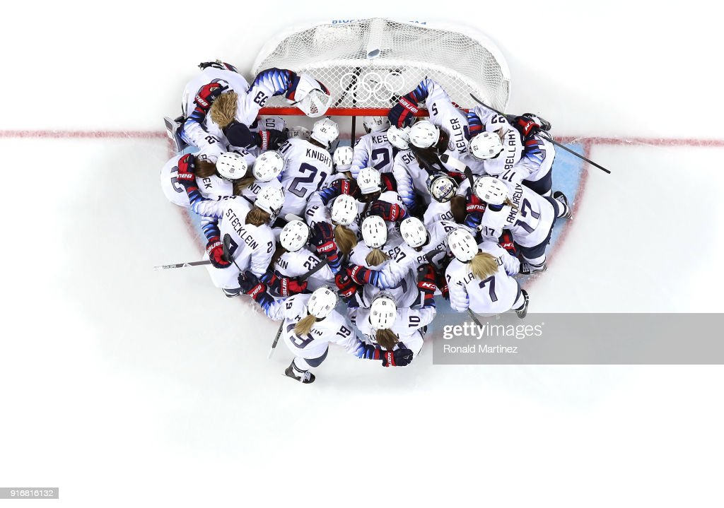 Team United States huddle at the goal before the Women's Ice Hockey Preliminary Round - Group A game against Finland on day two of the PyeongChang 2018 Winter Olympic Games at Kwandong Hockey Centre on February 11, 2018 in Gangneung, South Korea.