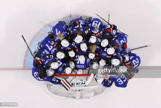 Team United States huddle before the Women's Ice Hockey Preliminary Round Group A game against Olympic Athletes from Russia on day four of the...