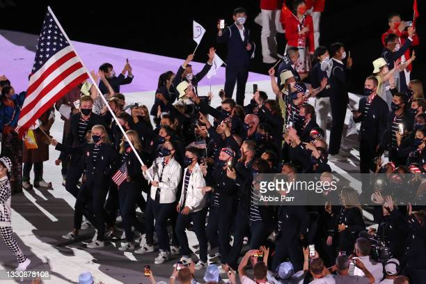 Team United States is introduced during the Opening Ceremony of the Tokyo 2020 Olympic Games at Olympic Stadium on July 23, 2021 in Tokyo, Japan.