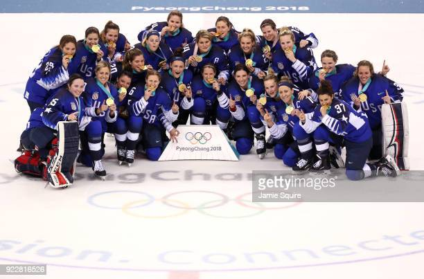 Team United States poses after defeating Team Canada 32 in a shootout to win the Women's Gold Medal Game on day thirteen of the PyeongChang 2018...