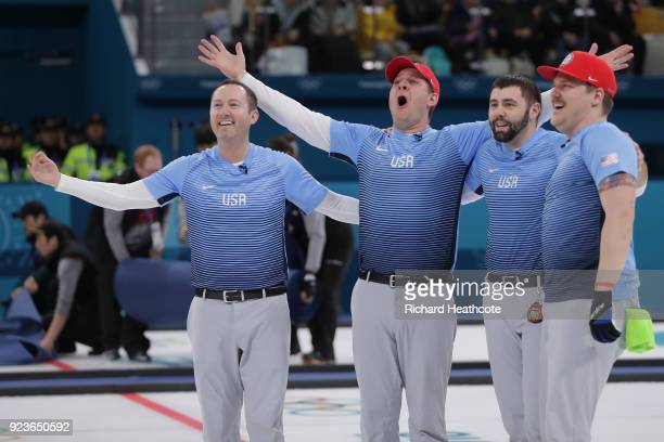 Team United States reacts after defeating Sweden 107 to win the Curling Men's Gold Medal game on day fifteen of the PyeongChang 2018 Winter Olympic...