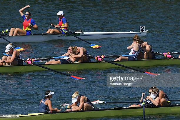 Team United States Team Great Britain and Team Romania celebrate gold silver and bronze medals respectively after competing the Women's Eight Final A...