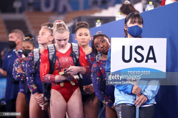 Team United States waits to compete during Women's Qualification on day two of the Tokyo 2020 Olympic Games at Ariake Gymnastics Centre on July 25,...