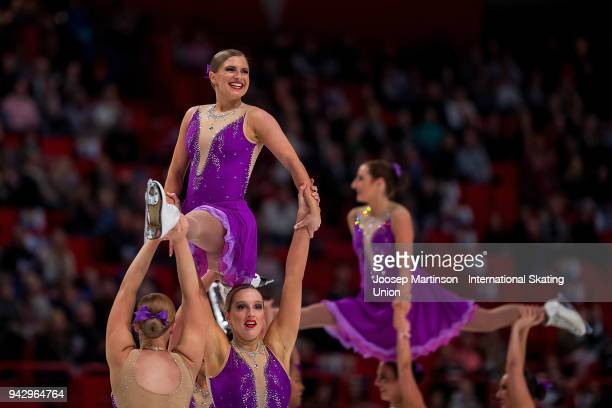 Team Unity of Australia compete in the Free Skating during the World Synchronized Skating Championships at Ericsson Globe on April 7 2018 in...