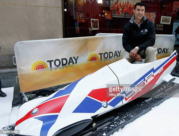 Team USA 2014 Olympic bobsledding hopeful Chuck Berkeley looks on during the Today Show One Year Out To Sochi 2014 Winter Olympics celebration at...