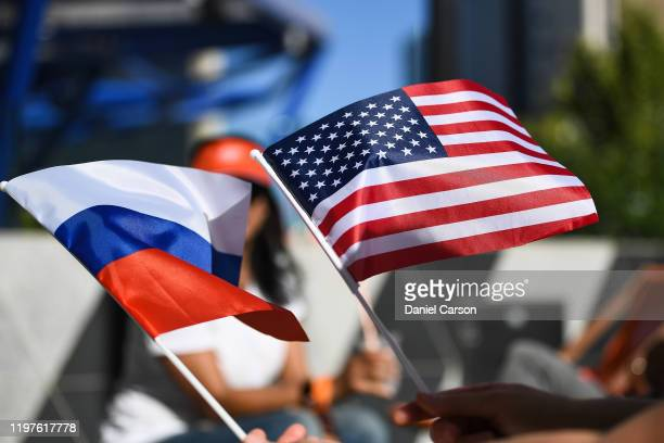 Team USA and Team Russia flags are waved during day three of the 2020 ATP Cup Group Stage at RAC Arena on January 05, 2020 in Perth, Australia.