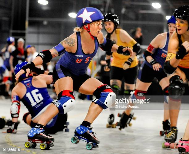 Team USA and Team Spain compete in Roller Derby World Cup at EventCity on February 4 2018 in Manchester England