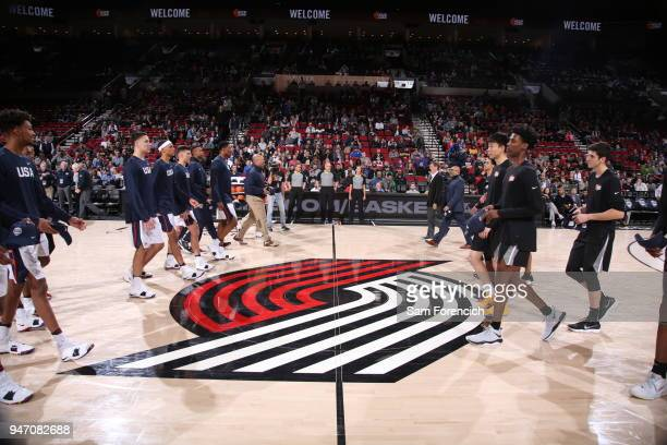 Team USA and Team World go to shake hands before the Nike Hoop Summit on April 13 2018 at the MODA Center Arena in Portland Oregon NOTE TO USER User...