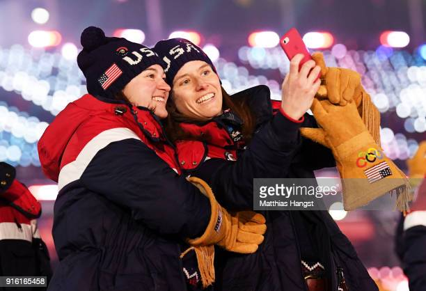 Team USA athletes are seen during the Opening Ceremony of the PyeongChang 2018 Winter Olympic Games at PyeongChang Olympic Stadium on February 9,...
