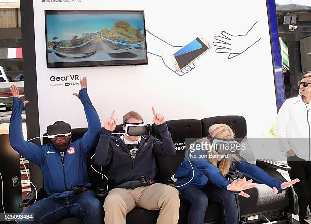 Team USA athletes D'Artagnan Crockett Myles Porter and Kayla Harrison attend Samsung's Virtual Reality Experience Powered by Gear VR during the 2016...