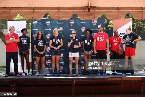 Team USA athletes Jesse Smith Ashleigh Johnson Maggie Steffens Dana Vollmer Lindsay Hogan Kendall Ellis Alex Bowen Carlin Isles and Katie Lou...