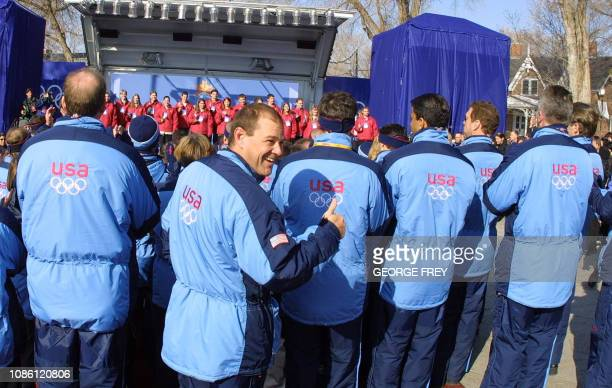 Team USA attends the official welcoming ceremony at the Olympic Village 05 February 2002 in Salt Lake City Utah before the 08 February 2002 start of...