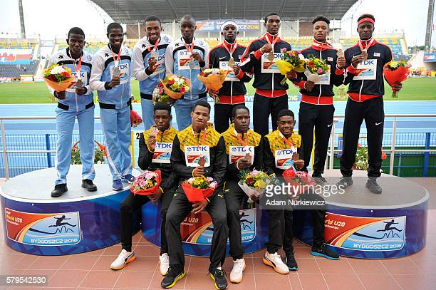 Team USA Botswana and Jamaica on the podium after men's 4 x 400 metres relay during the IAAF World U20 Championships at the Zawisza Stadium on July...