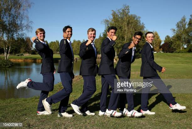 Team USA boys pose for a photo after winning the Junior Ryder Cup following the singles on day two of the 2018 Junior Ryder Cup at Disneyland Paris...