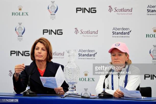 Team USA captain Juli Inkster and Team Europe captain Catriona Matthew talk in a press conference during Preview Day 4 of The Solheim Cup at...