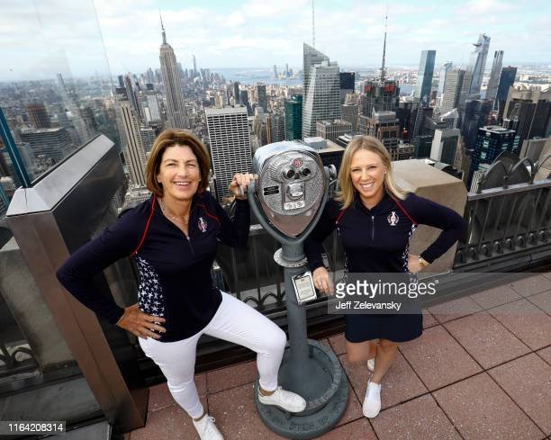 Team USA Captain Juli Inkster and Team USA member Morgan Pressel visit Top of the Rock Observation Deck during the Solheim Cup Team USA Media Tour on...