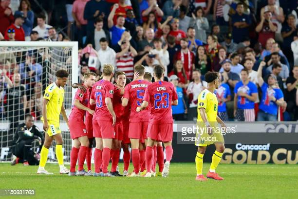 Team USA cebebrate their victory during the 2019 CONCACAF Gold Cup Group D match between USA and Guyana on June 18 2019 at Allianz Field in Saint...