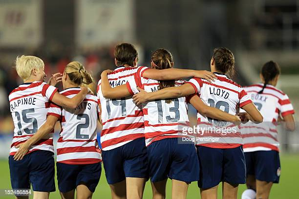 Team USA celebrate a goal against Australia at Dick's Sporting Goods Park on September 19 2012 in Commerce City Colorado The USA defeated Australia 62