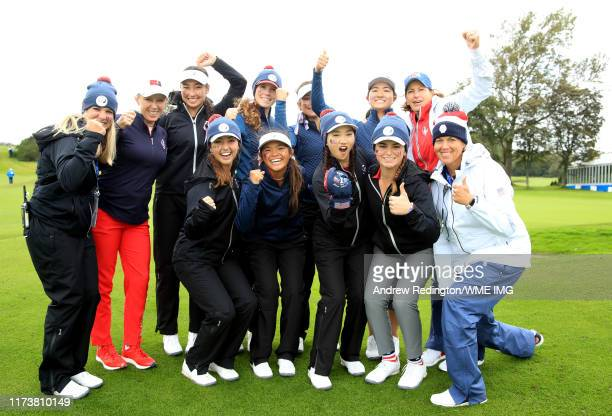 Team USA celebrate after winning the PING Junior Solheim Cup with Morgan Pressel Juli Inkster and Wendy Ward of Team USA during Preview Day 3 of The...