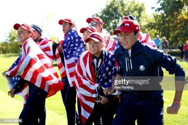 Team USA celebrate winning the Ryder Cup during the singles on day two of the 2018 Junior Ryder Cup at Disneyland Paris on September 25, 2018 in...