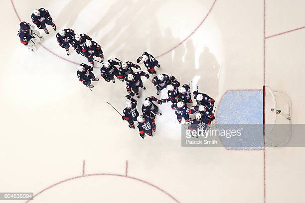 Team USA celebrates after defeating Team Finland during the pre-tournament World Cup of Hockey game at Verizon Center on September 13, 2016 in...
