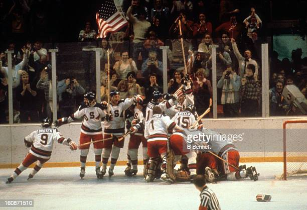 Team USA celebrates after defeating the Soviet Union to advance to the Gold Medal game during the 1980 Olympic Games on February 22, 1980 at the...