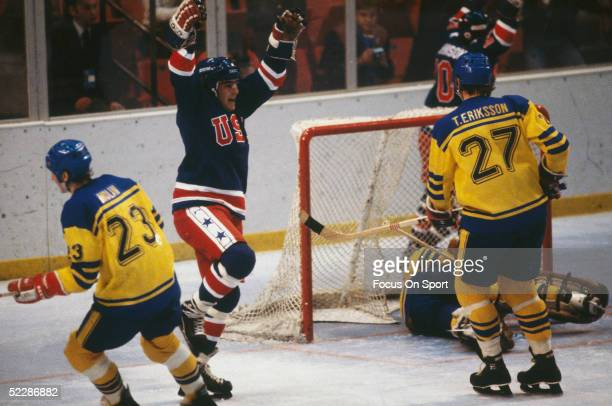 Team USA celebrates after scoring against team Sweden during the XIII Olympic Winter Games in February of 1980 in Lake Placid New York