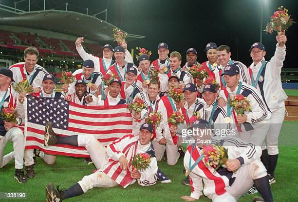 Team USA celebrates after the medal ceremony at the Baseball Stadium in Olympic Park during the Sydney Olympic Games in Sydney, Australia on...