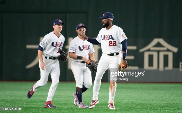 Team USA celebrates after the WBSC Premier 12 Super Round game between USA and Chinese Taipei at the Tokyo Dome on November 15 2019 in Tokyo Japan