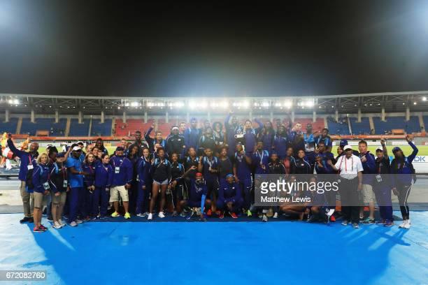 Team USA celebrates after winning the IAAF/BTC World Relays Bahamas 2017 at Thomas Robinson Stadium on April 23 2017 in Nassau Bahamas
