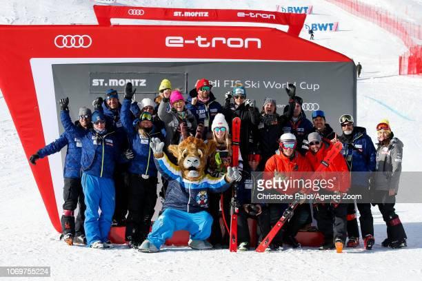 Team Usa celebrates Mikaela Shiffrin of USA celebrates during the Audi FIS Alpine Ski World Cup Women's Super G on December 8 2018 in St Moritz...