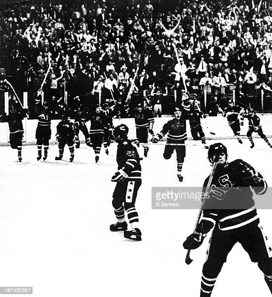Team USA celebrates their 42 victory over Finland in the Gold Medal Men's Ice Hockey event at the 1980 Winter Olympic Games in Lake Placid New York...