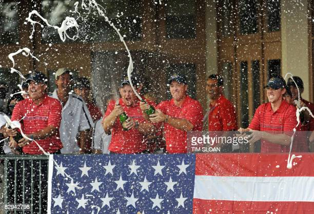 Team USA celebrates their Ryder Cup victory over Europe on September 21 2008 at Valhalla in Louisville Kentucky AFP PHOTO/TIM SLOAN