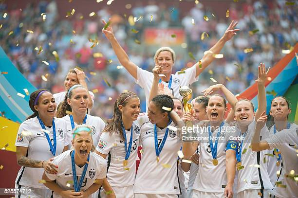 Team USA celebrates their victory over Japan during 2015 women's World Cup Soccer in Vancouver during the final between USA and Japan