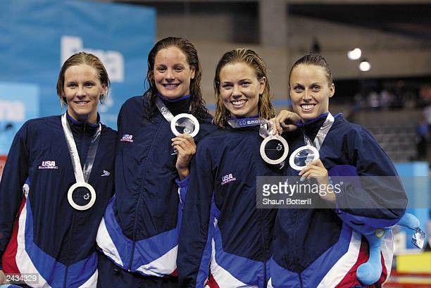 Team USA celebrates winning the silver after the Women's 4x1000m Medley Relay Finals during the 10th Fina World Swimming Championships 2003 at Palau...