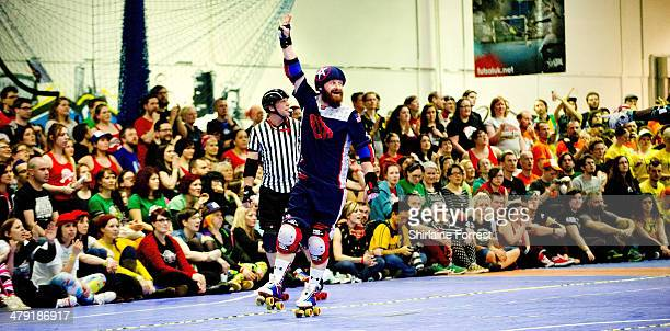 Team USA compete in the Men's Roller Derby World Cup at Futsal Arena on March 16 2014 in Birmingham England