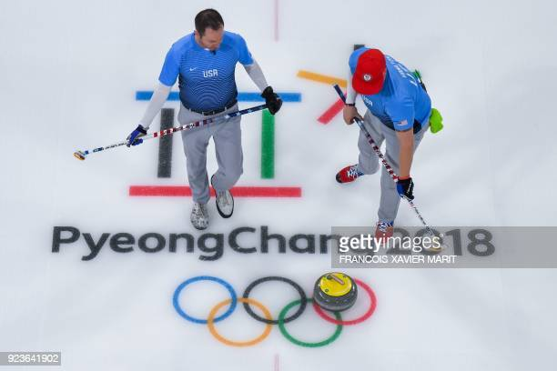 Team USA competes during the curling men's gold medal game between the USA and Sweden during the Pyeongchang 2018 Winter Olympic Games at the...
