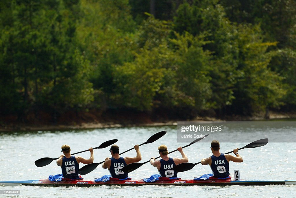 Team USA competes in the four-man kayak event during the 33rd