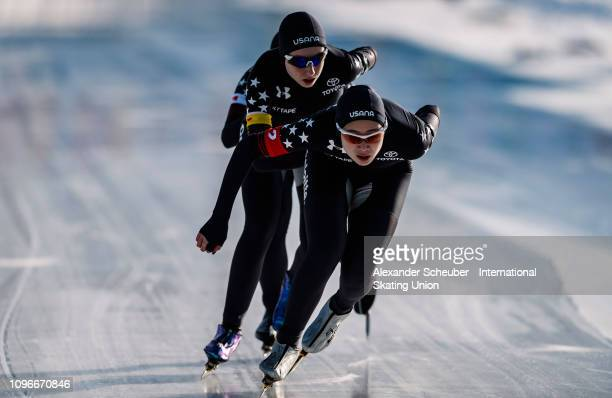 Team USA competes in the Ladies Team Pursuit sprint race during the ISU Junior World Cup Speed Skating Final day 1 on February 9 2019 in Trento Italy