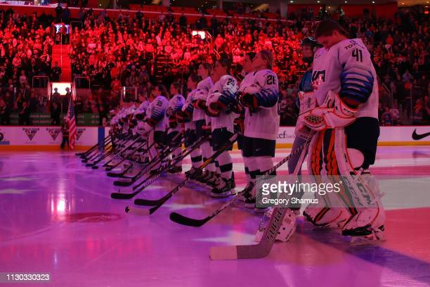 Team USA during the National anthem prior to playing team Canada at Little Caesars Arena on February 17 2019 in Detroit Michigan