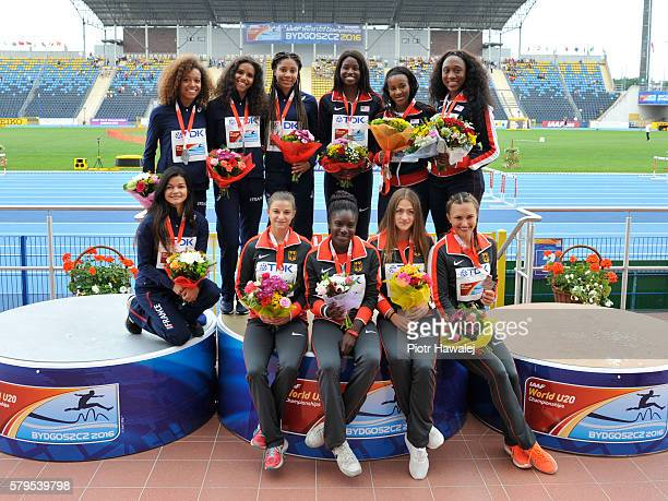 Team USA France and Germany on the podium after women's 4 x 100 metres during the IAAF World U20 Championships at the Zawisza Stadium on July 24 2016...