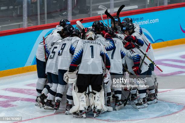 Team USA gathers before Men's 6Team Tournament Preliminary Round Group A Game between Switzerland and United States of the Lausanne 2020 Winter Youth...