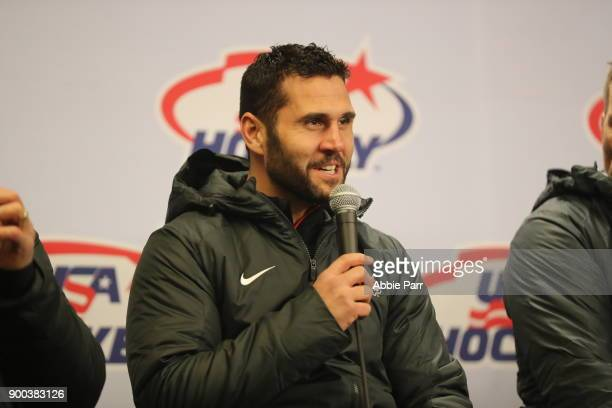 Team USA hockey captain Brian Gionta speaks to the media during the 2018 Bridgestone NHL Winter Classic at Citi Field on January 1 2018 in the...
