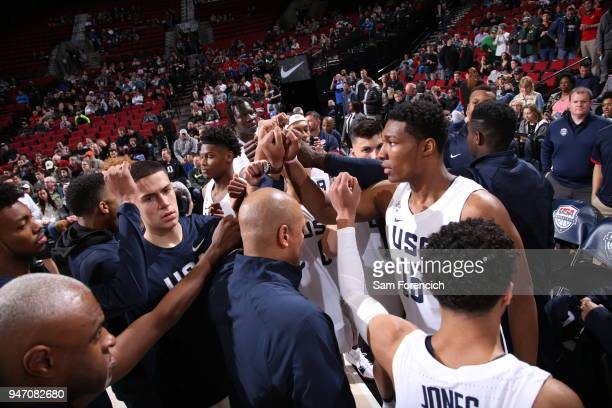 Team USA huddles up before the game against Team World during the Nike Hoop Summit on April 13 2018 at the MODA Center Arena in Portland Oregon NOTE...