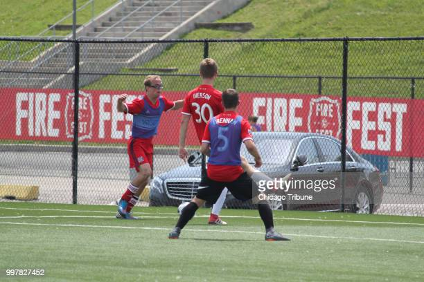 Team USA Illinois playes Mark Jerabek from left practices for the Special Olympics Unified Cup on Wednesday July 11 at Toyota Park in Bridgeview with...