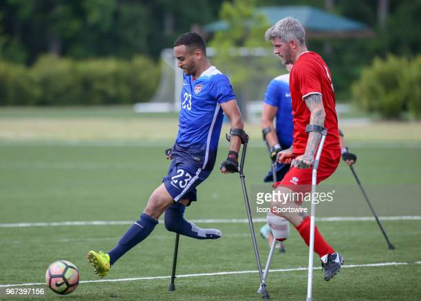 Team USA Jovan Booker gets ahead of Team England Tony Mills during the Lone Star Invitational Amputee Soccer tournament on June 2 2018 at Gosling...