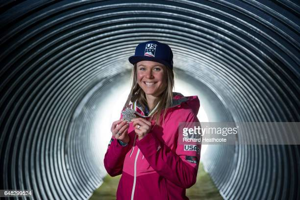 Team USA Medal winner Sadie Bjornsen poses for a portrait with her medal at the FIS Nordic World Ski Championships on March 5 2017 in Lahti Finland