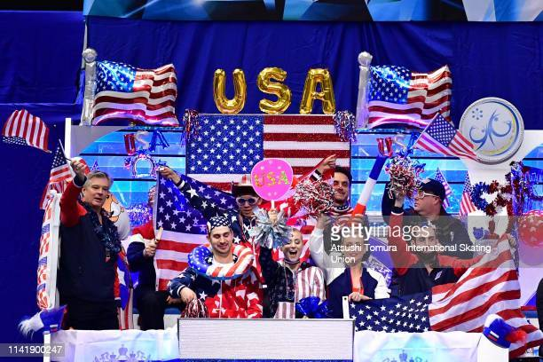 Team USA members cheer fro MariahBell prior to competing in the Ladies Single Short Program on day one of the ISU Team Trophy at Marine Messe...